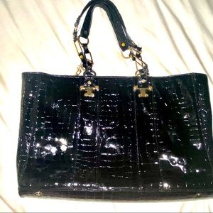 Tory Burch Patent Leather Faux Croc Tote Bag